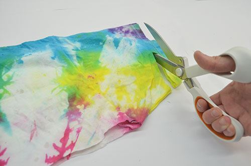 How to Make an Infinity Tie-Dye Necklace cut small strip from sleeve