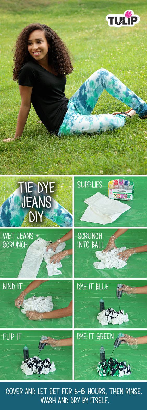 Crumple Tie-Dye Technique Use this easy crumple technique to add dye to denim, t-shirts, summer dresses and more! #crumpletiedye #howtotiedye #tiedyejeans #easytiedye #tiedyeyoursummer #TDYS