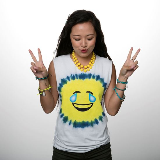 Blue and Yellow Emoji Tie Dye Shirt