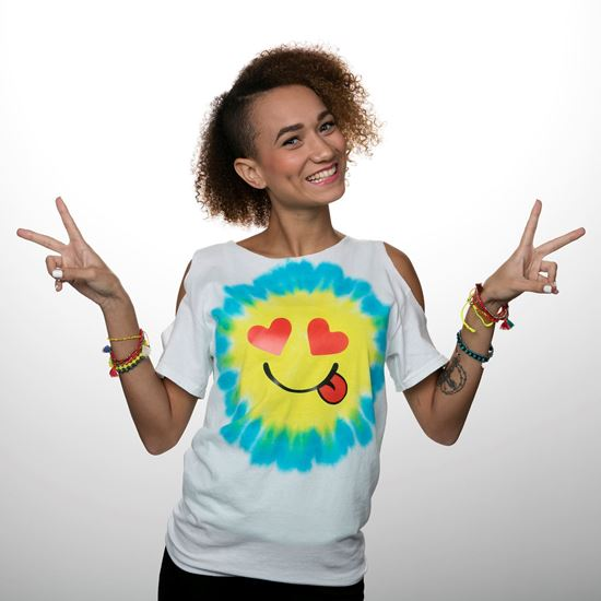Turquoise and Yellow Emoji Tie Dye Shirt