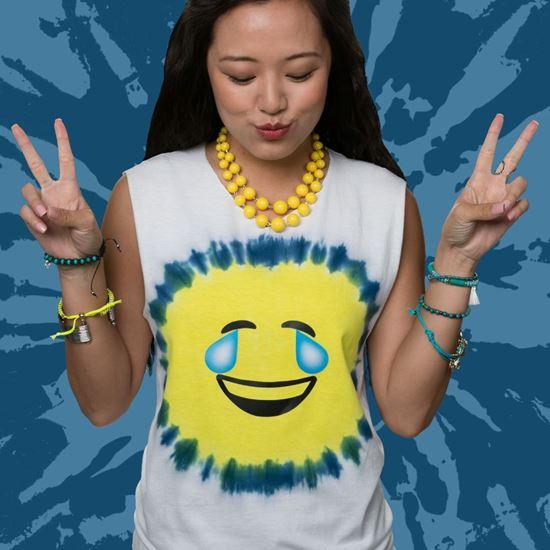 Blue Emoji Tie-Dye Tee
