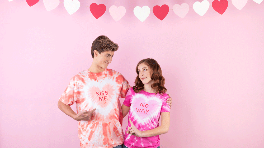 Picture of Valentine Conversation Hearts Tie Dye Shirts