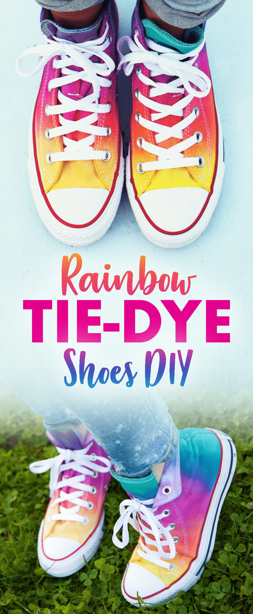 Rainbow Tie-Dye Shoes Use this super easy brush-on tie dye technique to make these fabulous rainbow shoes! #shoestiedye #rainbowtiedye #rainbowshoes #tiedyeyoursummer #tdys #TDYS #tuliptiedye