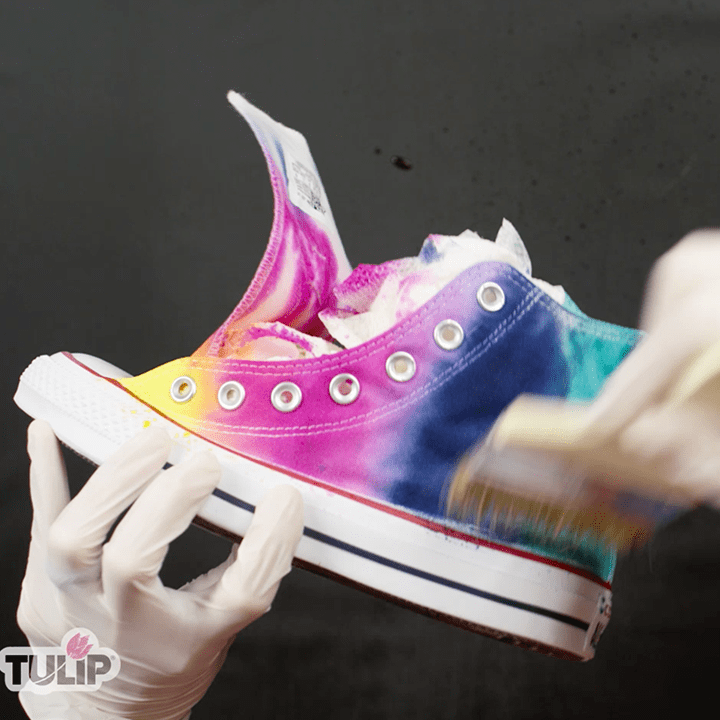 Rainbow Tie-Dye Shoes blend colors with water