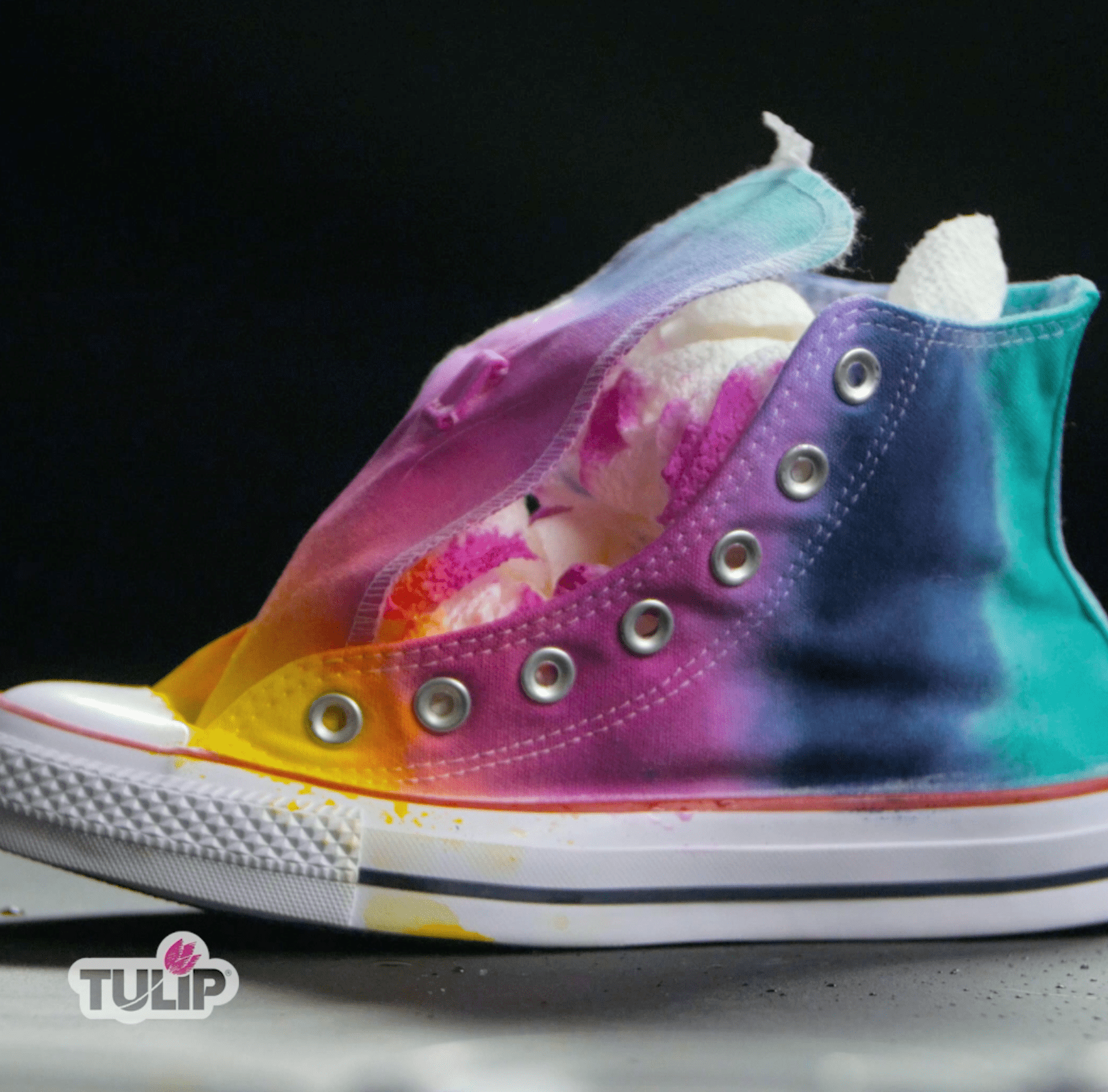 Rainbow Tie-Dye Shoes wrap and set to saturate dyes