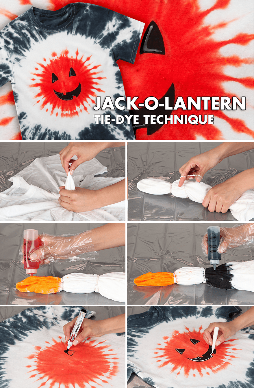 Picture of Jack-O-Lantern Tie-Dye Technique
