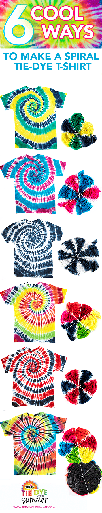 Spiral Tie-Dye Technique Choose your favorite color combos for easy spiral tie dye! #howtospiraltiedye #spiraltiedye #tiedyespiral #DIYtiedye #tuliptiedye #tiedyeyoursummer #TDYS