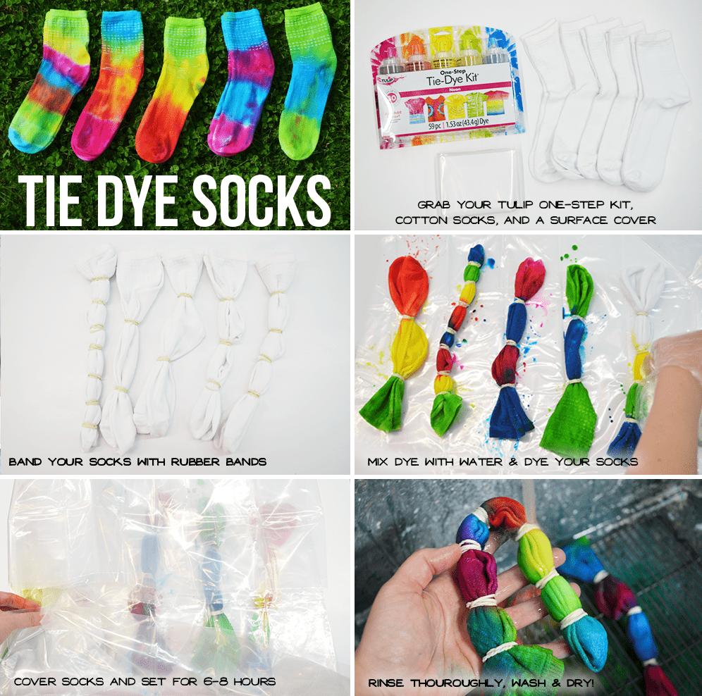 Tie-Dye Socks in rainbow colors! #tiedyesocks #howtotiedye #sockstiedye #tiedyeyoursummer #tdys #tuliptiedye #TDYS