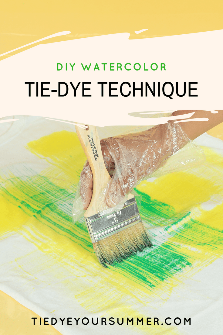 Watercolor Tie-Dye Color Brush Technique Brush on bright dyes for a fun DIY watercolor technique!  #howtotiedye #watercolortiedye #tiedyeyoursummer #tuliptiedye #watercolor