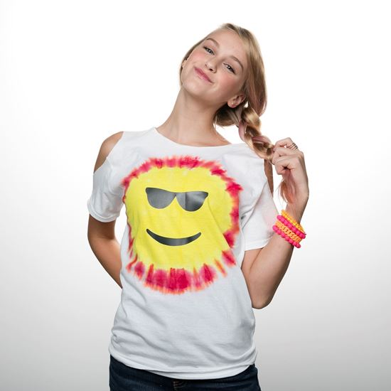 Red and Yellow Emoji Tie Dye Shirt