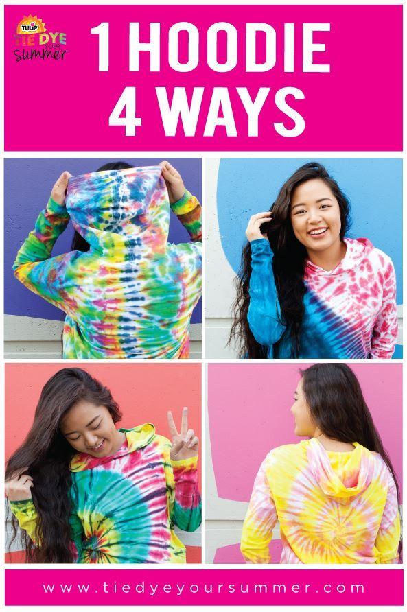 1 Hoodie 4 Ways to Tie Dye