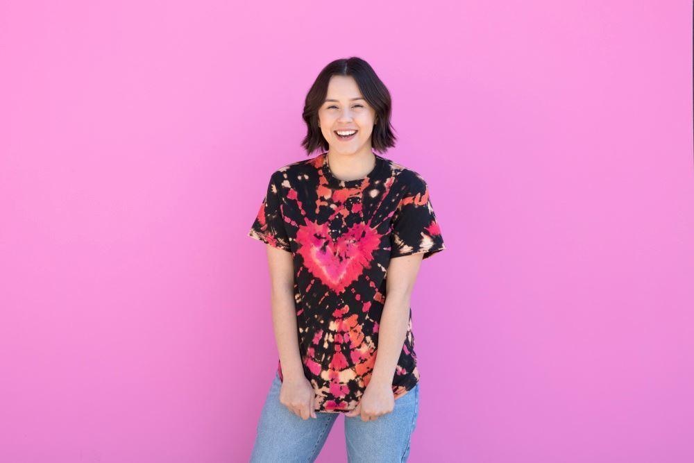 Reverse Tie Dye Heart T-shirt