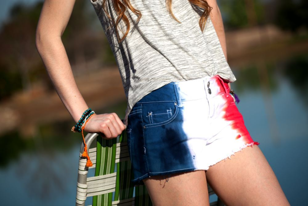 Red, White & Blue Denim Shorts