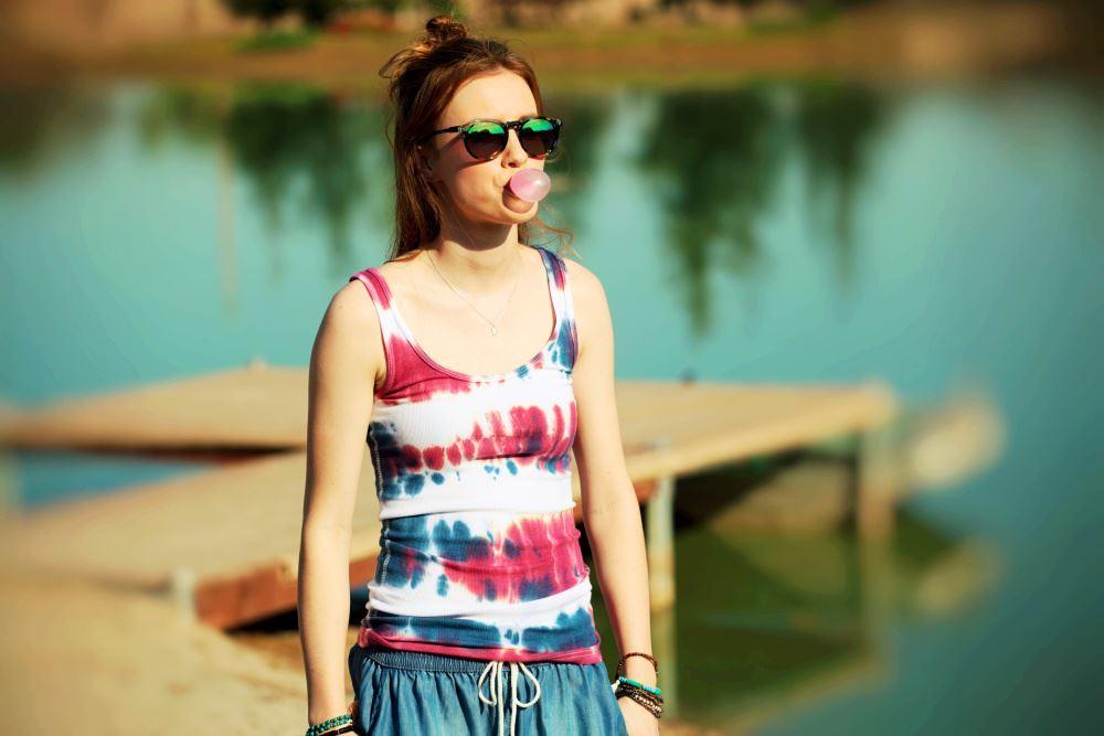 Red, White & Blue Tie Dye Tank Top