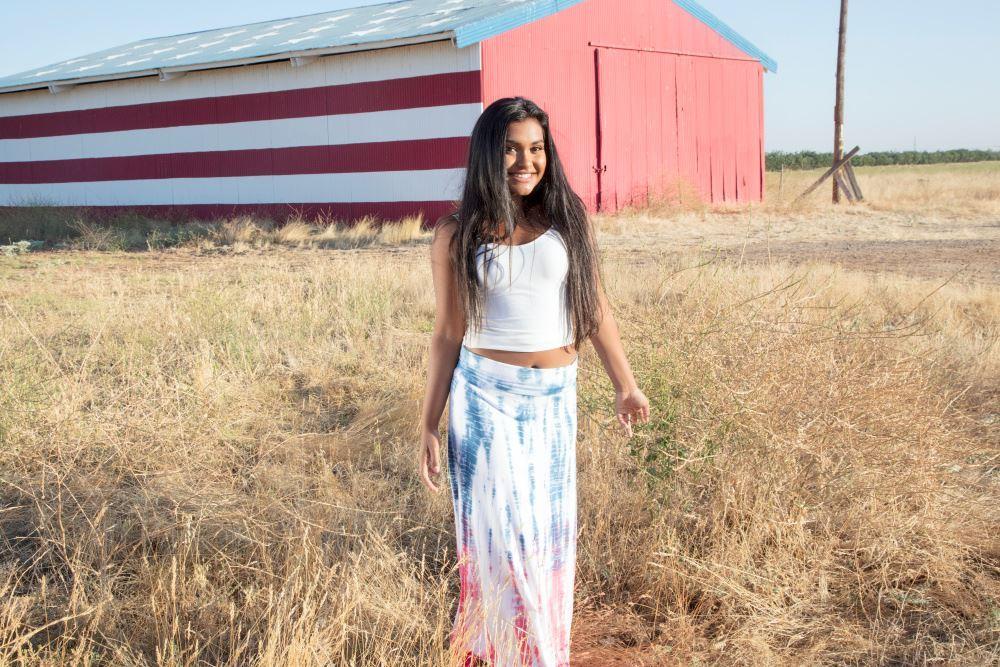 Patriotic Tie-Dye Maxi Skirt