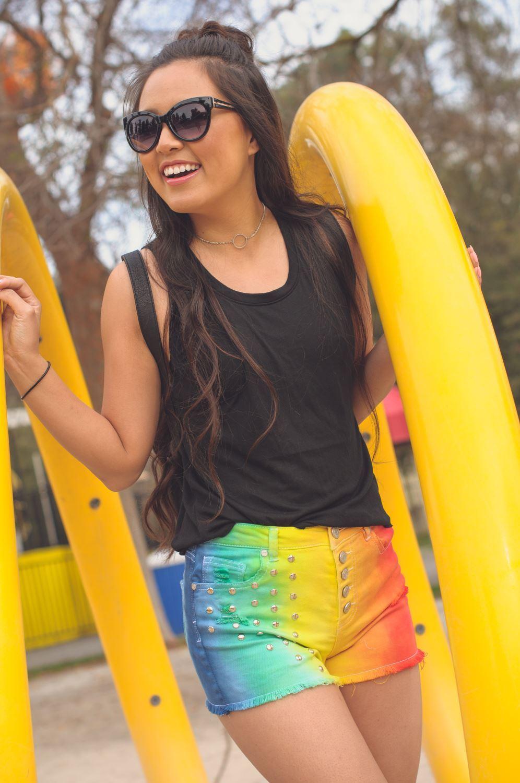 Rainbow Tie-Dye Jean Shorts