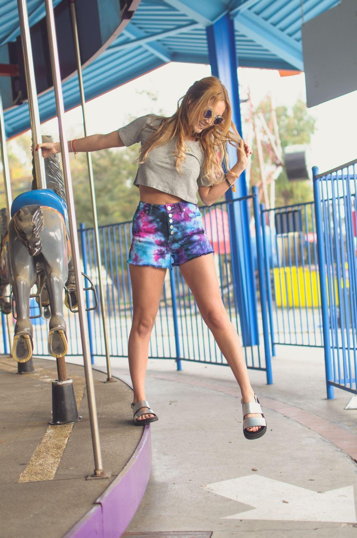 Crumple Tie-Dye Jean Shorts
