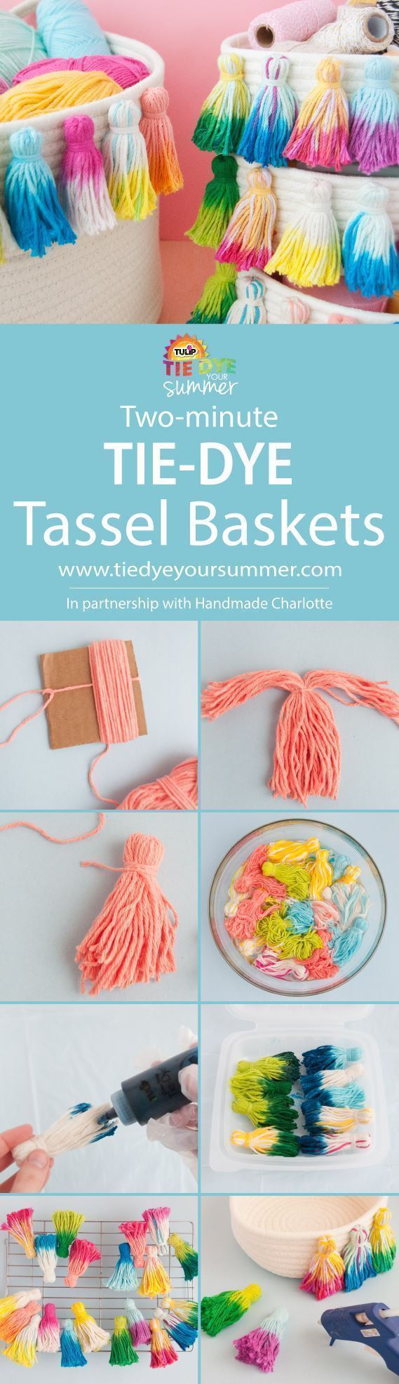 Tie-Dye Tassel Baskets with Tulip Two-Minute Tie Dye