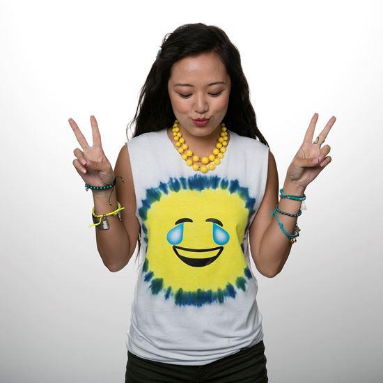 Blue and Yellow Emoji Tie Dye Shirt