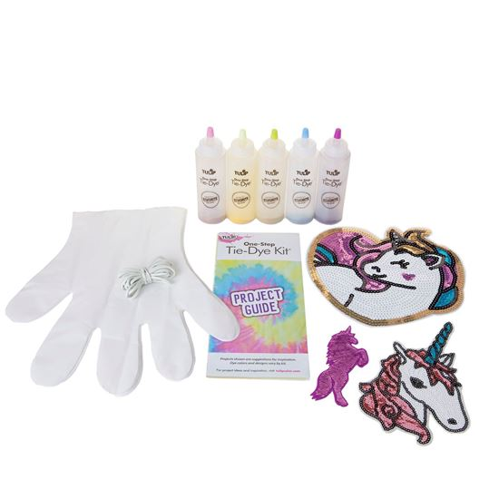 Unicorn Shimmer Tie-Dye Kit Contents