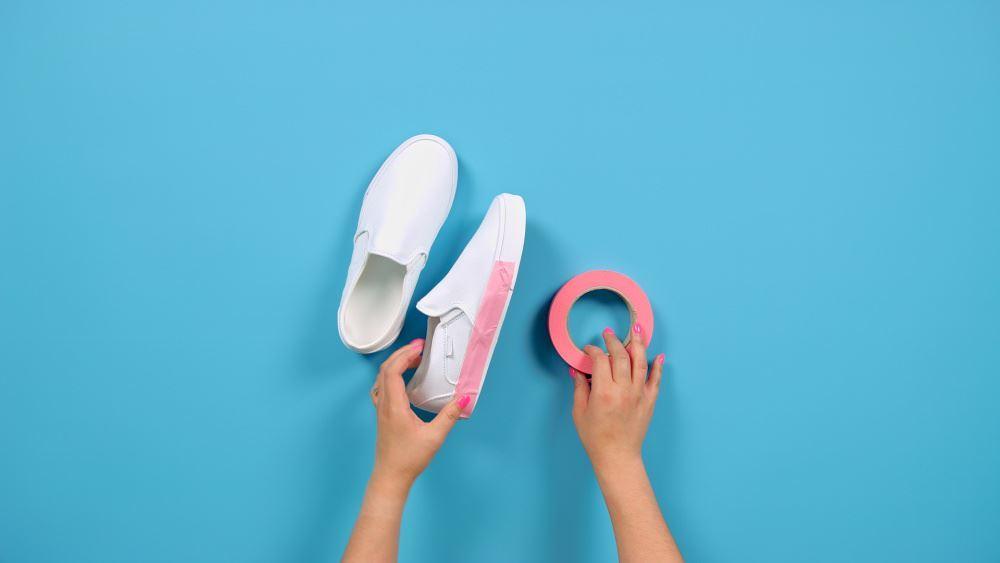 Tulip Marble Tie-Dye Shoes Technique - tape soles of shoes