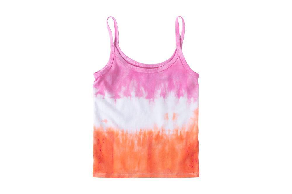 Pink and Orange Stripe Tie-Dye Tank Top