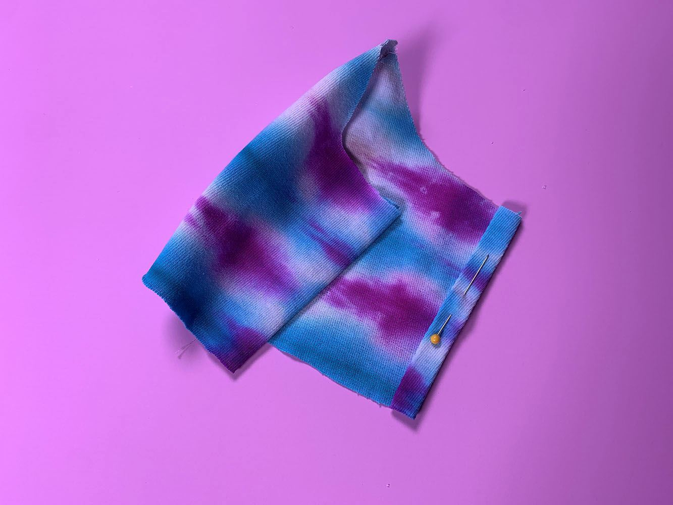 Tulip Tie-Dye Face Mask Tutorial - fold and stitch sides