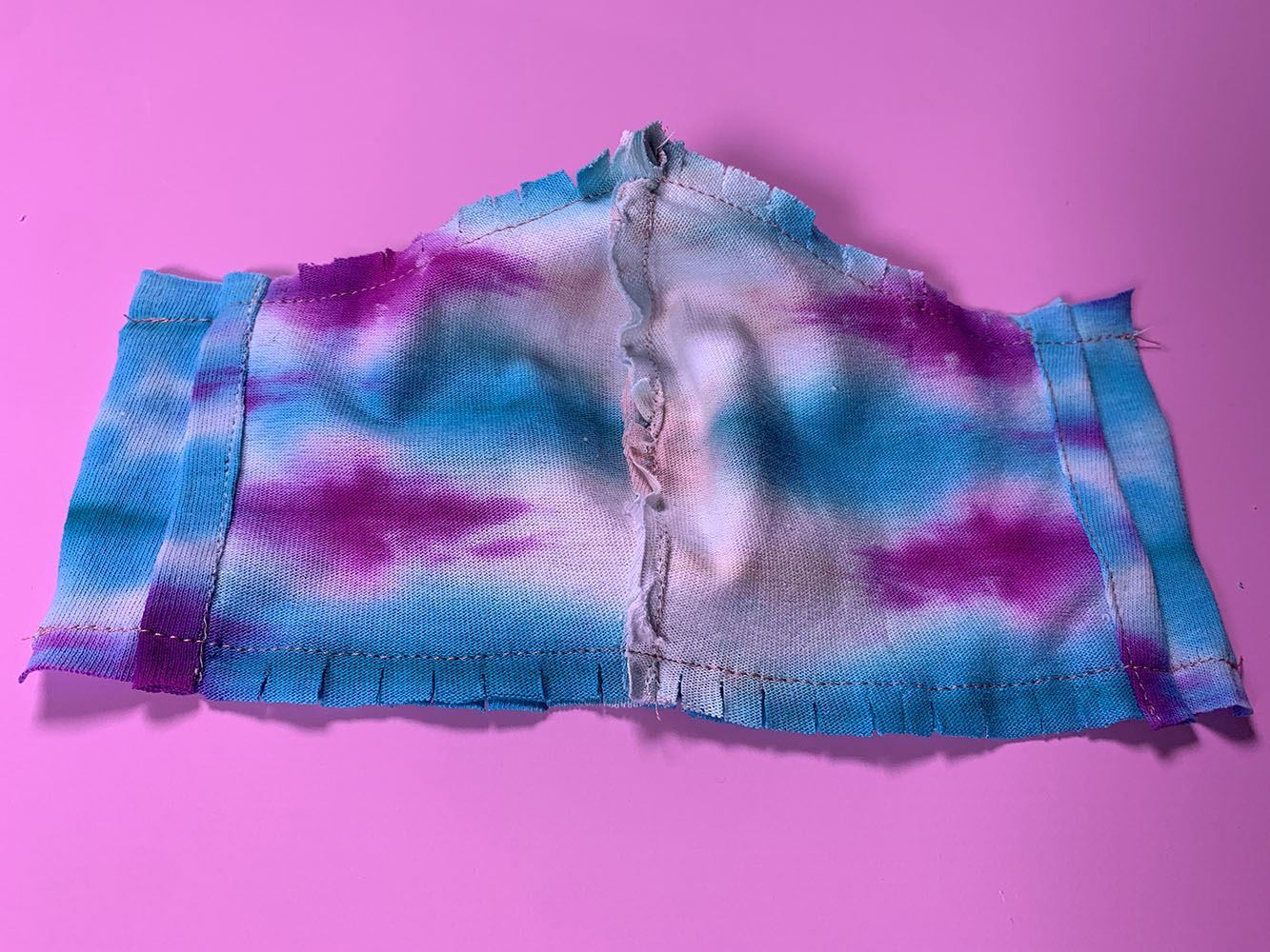 Tulip Tie-Dye Face Mask Tutorial - stitch layers and clip