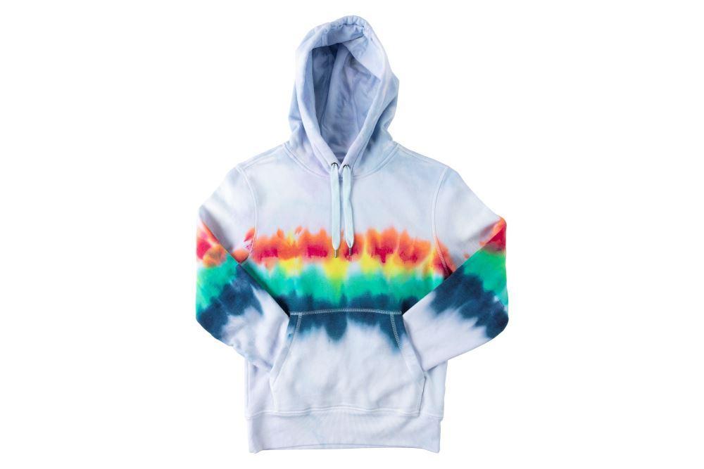 Rainbow Stripe Tie-Dye Hoodie