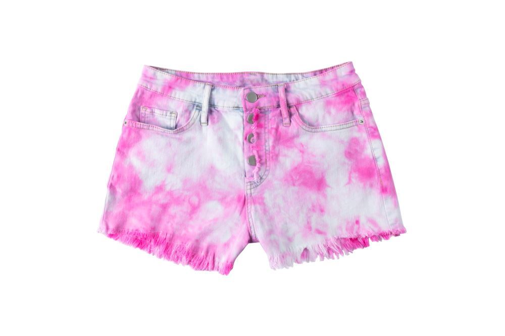 Pink Crumple Tie-Dye Shorts