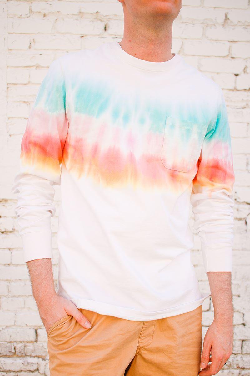 Rainbow stripes tie-dye men's shirt