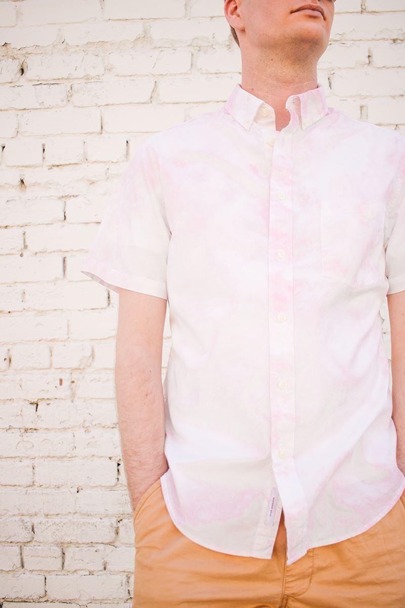 Men's crumple tie-dye dress shirt