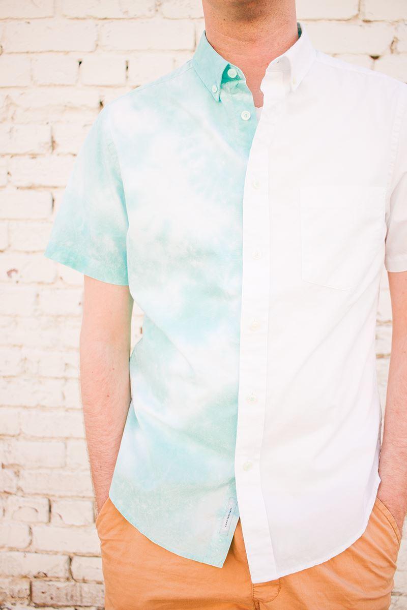 Half crumple tie-dye men's dress shirt