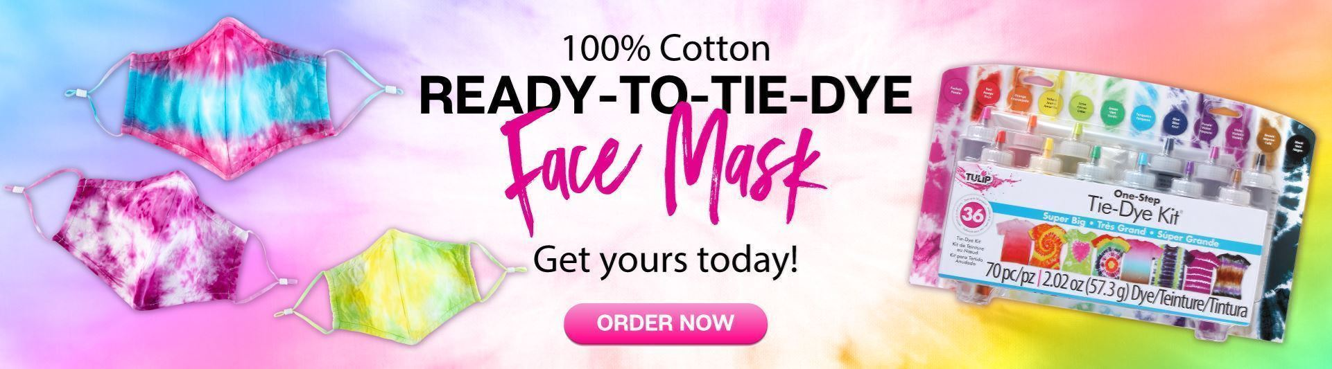 Image 100% Cotton Ready-to-Tie-Dye Face Mask