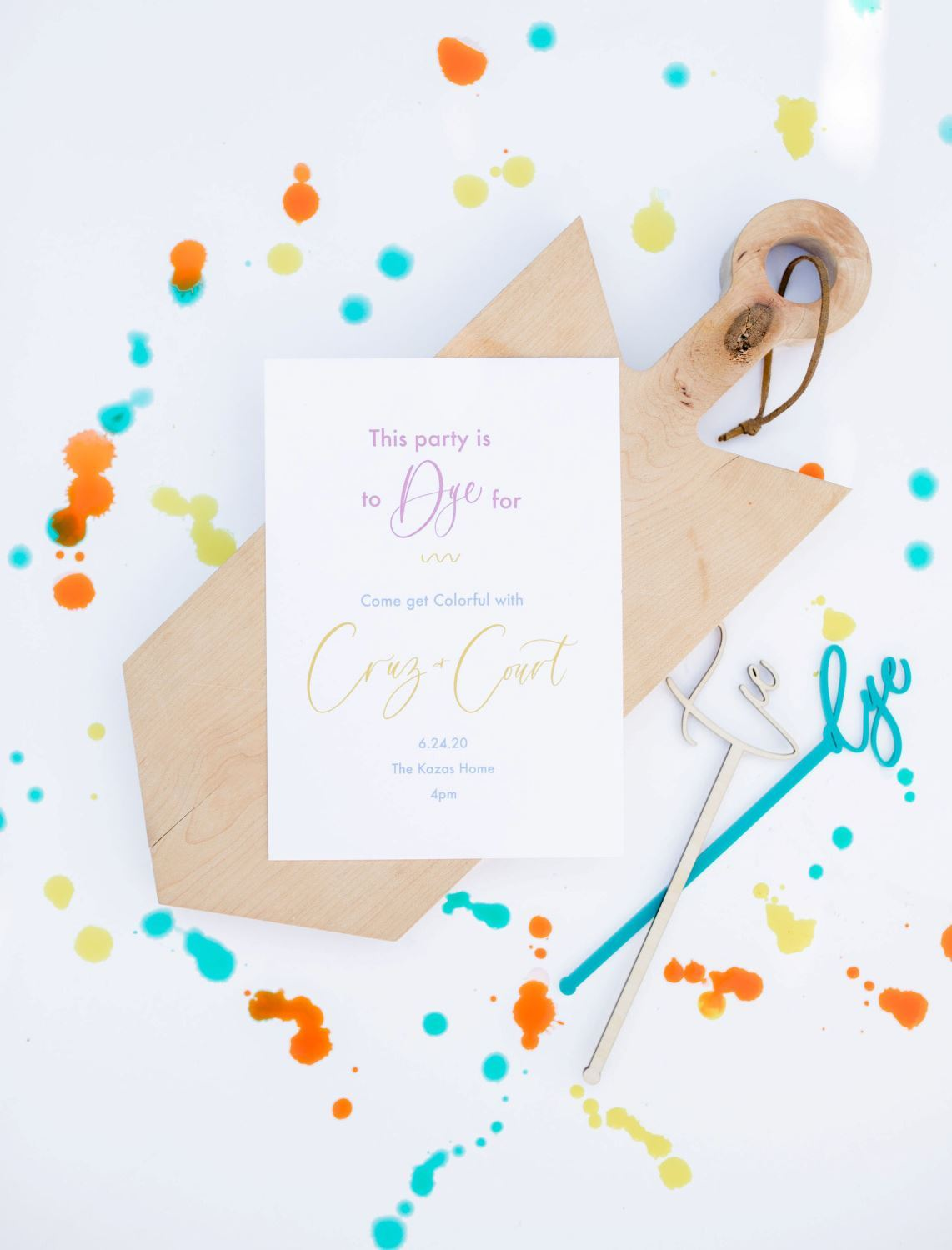 Tie-dye party invitations