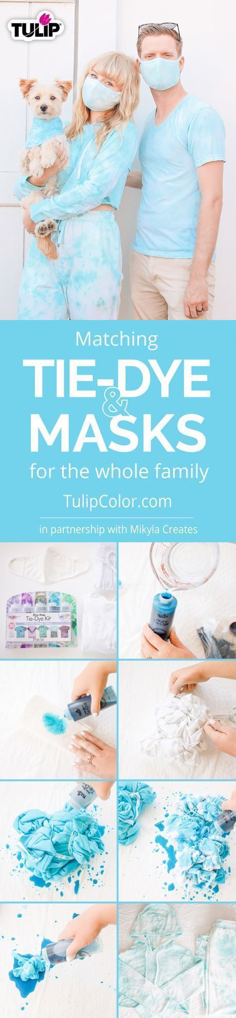 Tie Dye Matching Sweatsuits and Masks for the Whole Fam