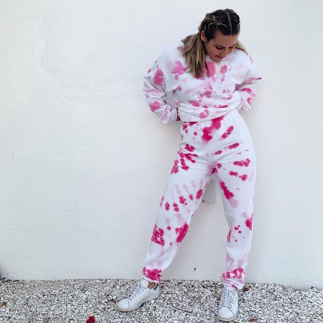 Pink tie-dye sweatsuit