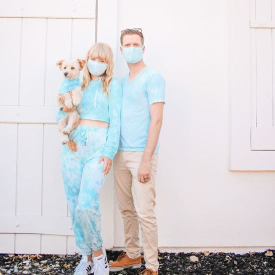 Couple and dog wearing  Blue tie dye Clothes'