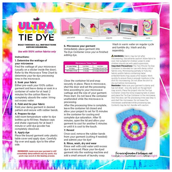 Ultra Bright Tie Dye 30-Pc. Kit instruction sheet