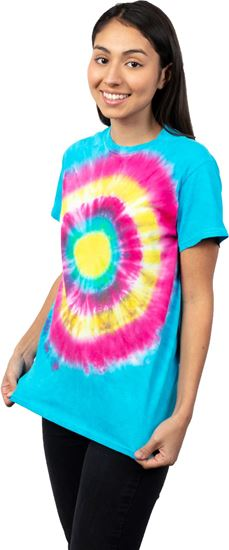 Girl wearing T-shirt made with Ultra Bright Tie Dye