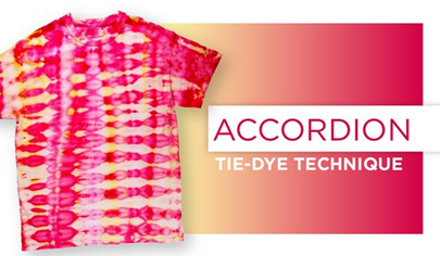 Accordion Tie-Dye Technique Title card with tie dye t-shirt