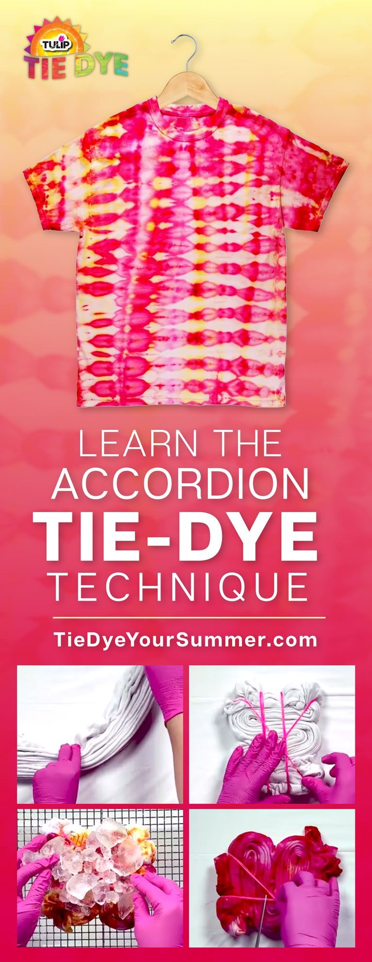 Accordion Tie-Dye Technique Pinterest Pin learn how to with step images