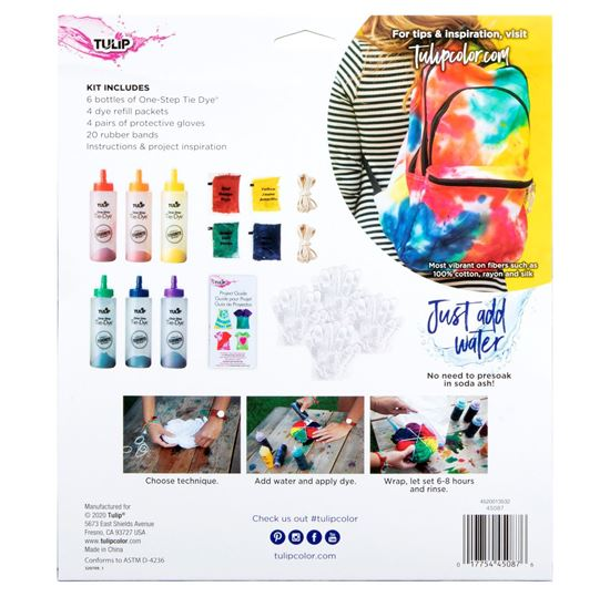 One-Step Tie-Dye Kit Rainbow Color Collection  back of box