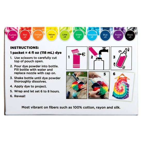 One-Step Tie-Dye Refills 30 Pack back of box