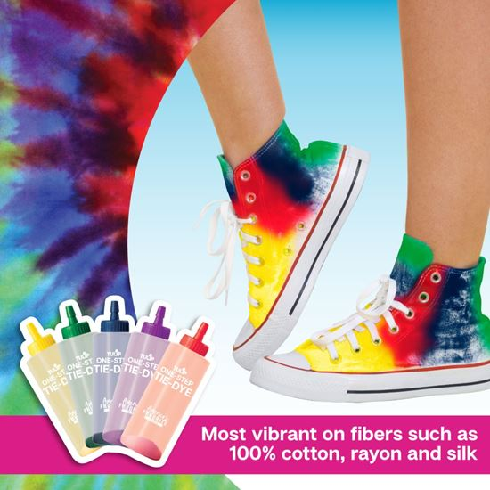 Rainbow One-Step Tie-Dye Road Trip Kit infographic with shoes